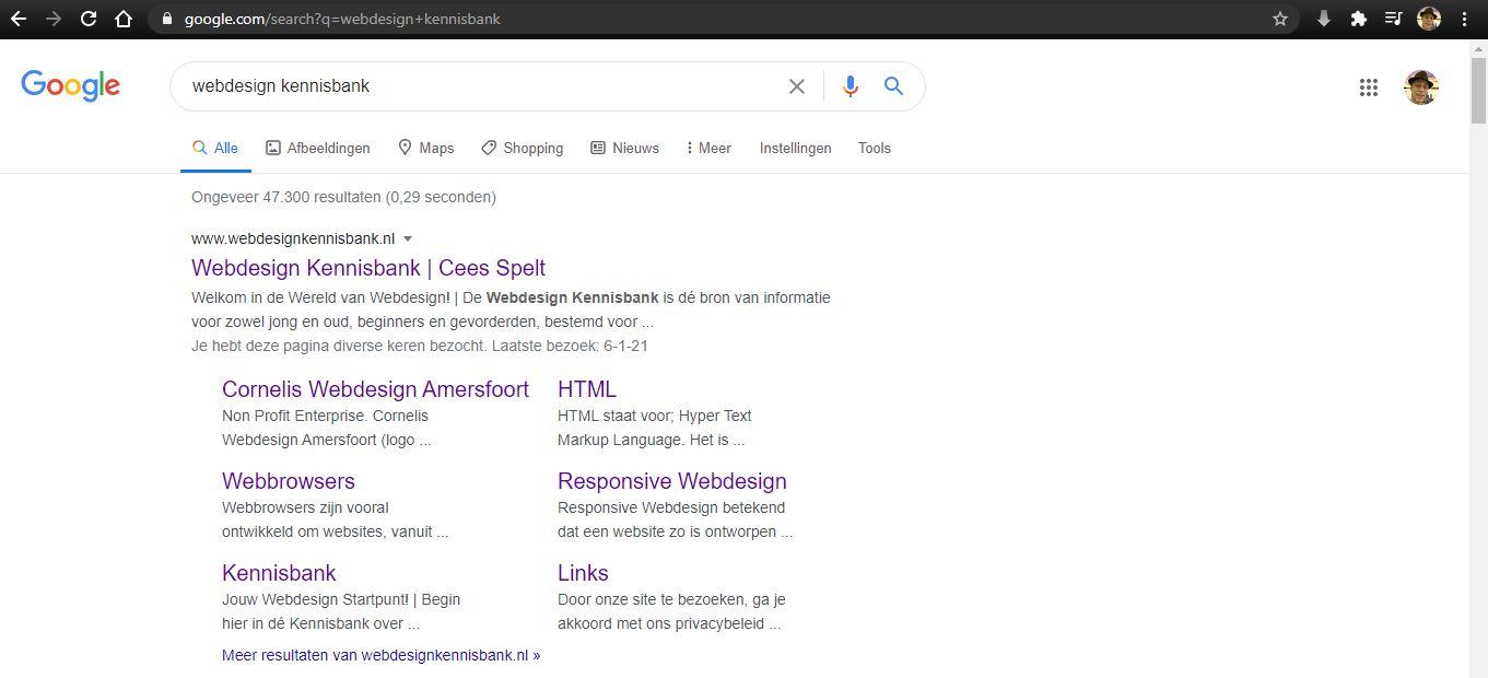 Webdesign Kennisbank weergegeven in Google | Zoekmachine Optimalisatie